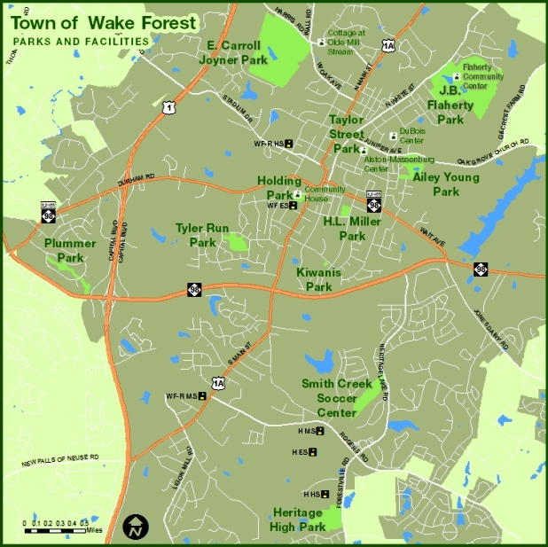 Town of Wake Forest, Parks and Facilites Map