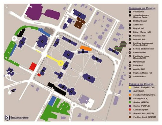 Map of the southeast baptist theological seminary