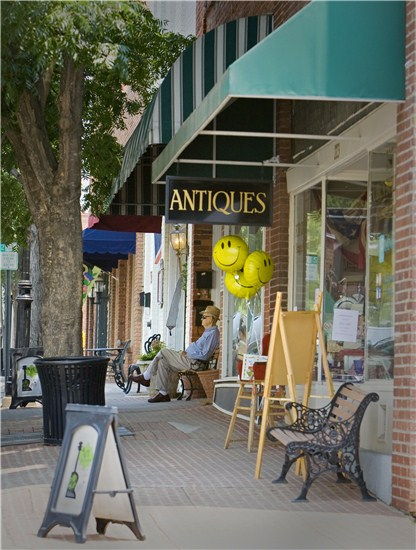 Outside of the Antiques store in downtown Wake Forest