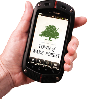 Cell phone in hand with the Town of Wake Forest Logo on the screen