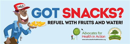 """Got Snacks?"" Refuel with Fruits and water!"