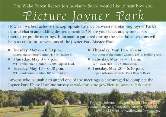 advertisement to attend a public meeting about the future of perserving Joyner Park