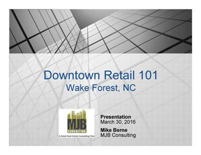 Down Town Retail workshop advertisement