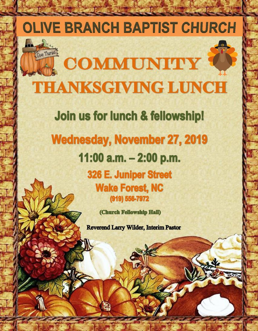 3rd Annual Community Thanksgiving Lunch