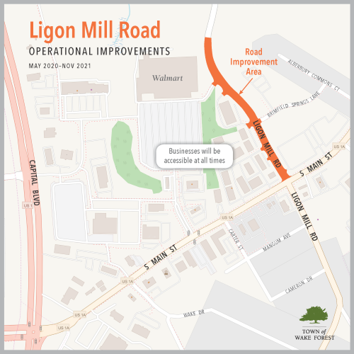 Ligon Mill Operational Improvements Map