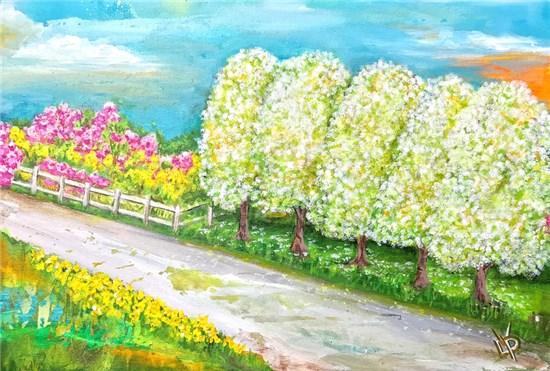NC Spring Road, by Delphine Peller (Wake Forest Renaissance Centre, 405 S. Brooks St.)
