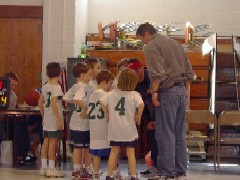Basketball Coach talking with his team in a huddle