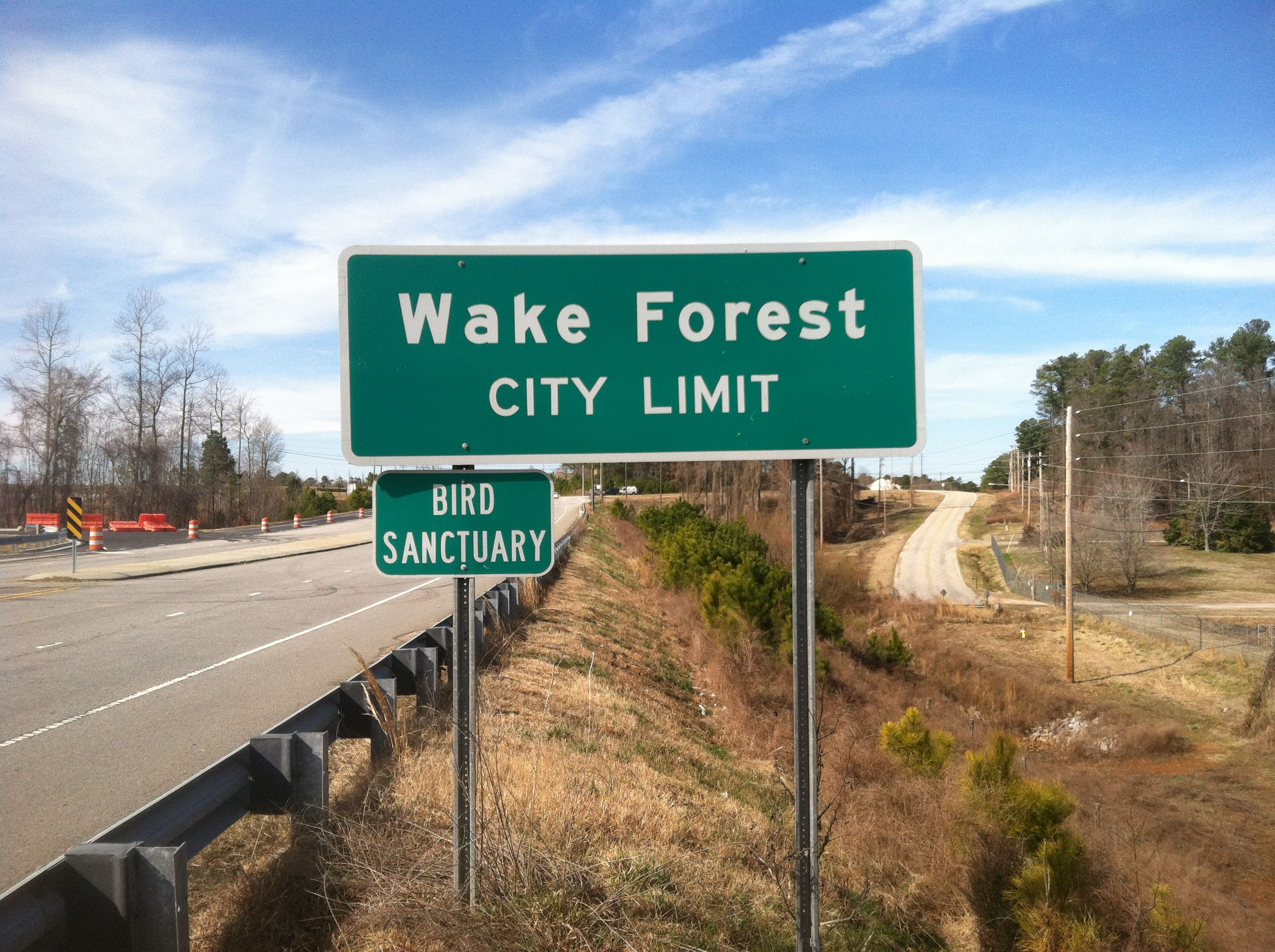 Wake Forest City Limit sign